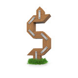 Wooden dollar sign in the grass Royalty Free Stock Photos