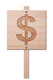 Wooden dollar sign, isolated, clipping path. Stock Images