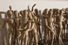 Wooden dolls for drawing Royalty Free Stock Images