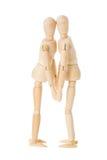 Wooden dolls kiss Stock Photos
