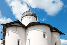 Wooden dome with cross of ancient orthodox church. Against the blue sky in Novgorod, Russia stock photography
