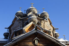 Wooden domes with crosses. And icon Royalty Free Stock Image