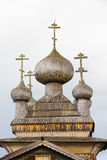 Wooden domes of the traditional wooden old church Royalty Free Stock Images