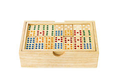 Wooden Domino in box Stock Images