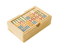 Wooden Domino in box Royalty Free Stock Photo