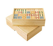 Wooden Domino in box Stock Photography