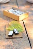 Wooden dominoes set Stock Photo