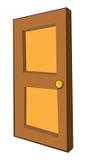 Wooden door. Cartoon illustration of a wooden door opening Royalty Free Stock Photo