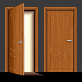 Wooden Door. Illustration of opened and closed classic wooden door - only simply colors used Stock Images