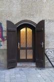Wooden door. Frontal view of a wooden door Stock Images