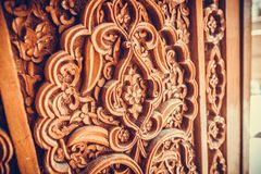 Wooden door Arabic decorations Stock Photo