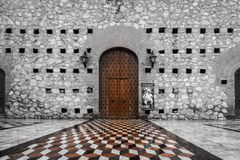 Wooden door with artful entrance site stock images