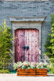 wooden door and bamboo Stock Photography