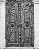 The wooden door in baroque style in Sremski Karlovci black and w Royalty Free Stock Photo