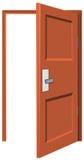 Wooden door being left opened royalty free illustration