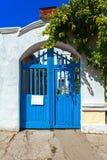 Wooden door blue Stock Images