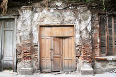 Wooden door, brick wall and wild roots stock image