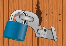 Wooden door with a broken lock Stock Image