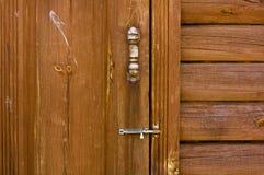 Wooden door. Chapel wooden door with door bolt Royalty Free Stock Photos