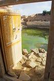Wooden door, cistern, Thula, fortified city, Yemen Stock Photo