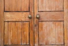 Wooden door. Close up of a solid wooden door royalty free stock photography