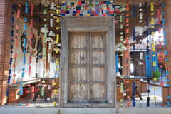 Wooden door decorated with bright colors. Bright colors.in thailand my colorfull Stock Image