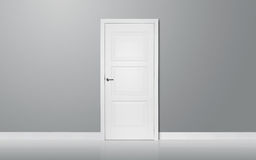 Wooden door in the empty room Royalty Free Stock Photos