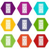 Wooden door with glass icon set color hexahedron Royalty Free Stock Photo