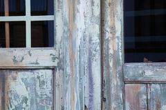 Wooden door with glasses Stock Images