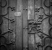 Wooden Door in Grayscale Photography Stock Image