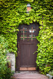 Wooden door with green leaves. And lamp over door Royalty Free Stock Image