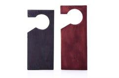 Wooden door hangers isolated on white background Stock Image