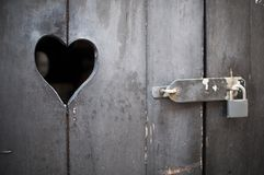 Wooden door with heart Stock Photo