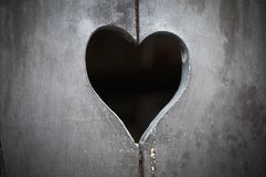 Wooden door with heart Royalty Free Stock Photos
