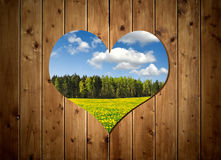 Wooden door with heart. In the background spring landscape Royalty Free Stock Images