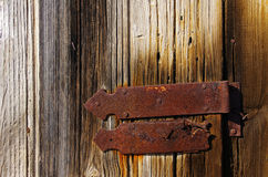 Wooden door with hinge Stock Image