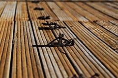 Wooden door hinge Stock Image