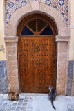 Wooden door in the historical Medina of Essaouira, Morocco Royalty Free Stock Photo