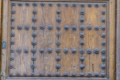 Wooden door with iron fasteners, City of Segovia, famous for its Stock Images