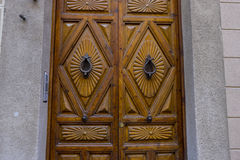 Wooden door with iron fasteners, City of Segovia, famous for its Royalty Free Stock Photography