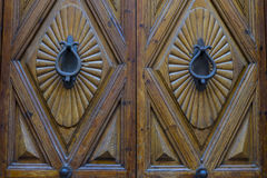 Wooden door with iron fasteners, City of Segovia, famous for its Stock Photo