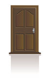 Wooden door isolated. Illustration of classic wooden door on blank Royalty Free Stock Photography