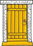 Wooden door isolated. Cartoon style vector clip-art Stock Photo