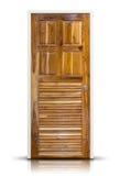 Wooden door isolated on white Stock Photo