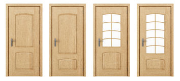 Wooden door isolated on white Stock Photos