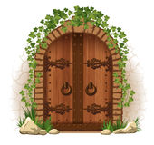 Wooden door with ivy Stock Image