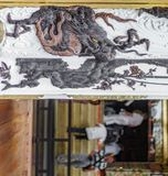 Japanese temple entrance with dragon. Wooden door of Japanese temple entrance with dragon Royalty Free Stock Photo