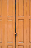 Wooden door and key lock Stock Images