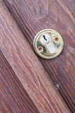 Wooden door with a keyhole brass Royalty Free Stock Photography