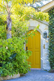 Wooden door and landscape design Stock Photos